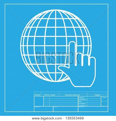 Earth Globe with cursor. White section of icon on blueprint template.