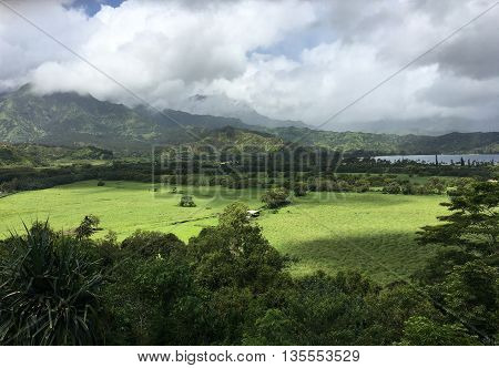 Scenic view of landscape looking towards Hanalei, Kauai, Hawaii