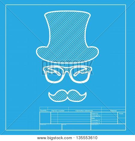 Hipster accessories design. White section of icon on blueprint template.