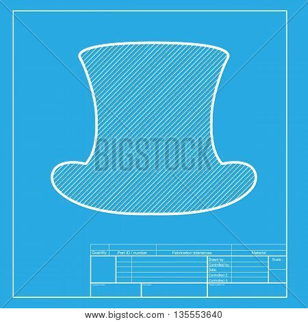 Top hat sign. White section of icon on blueprint template.