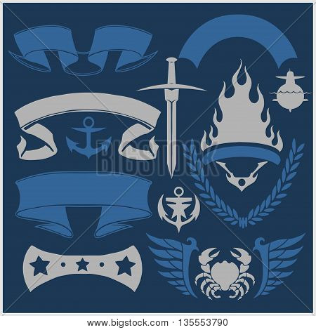 Military and naval forces badges and design elements. Vector illustration.