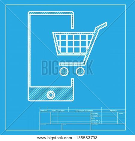 Shopping on smart phone sign. White section of icon on blueprint template.