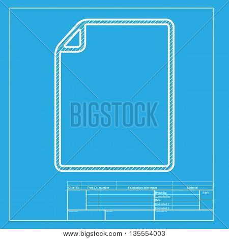 Document sign illustration. White section of icon on blueprint template.