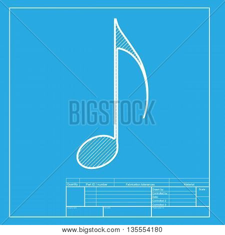 Music note sign. White section of icon on blueprint template.