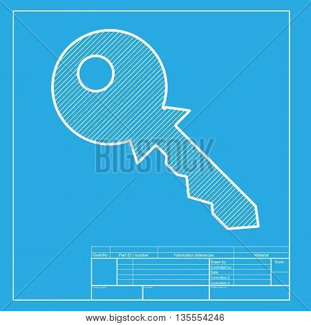 Key sign illustration. White section of icon on blueprint template.