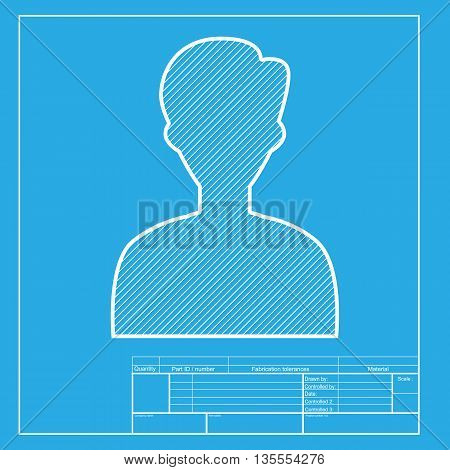 User avatar illustration. Anonymous sign. White section of icon on blueprint template.