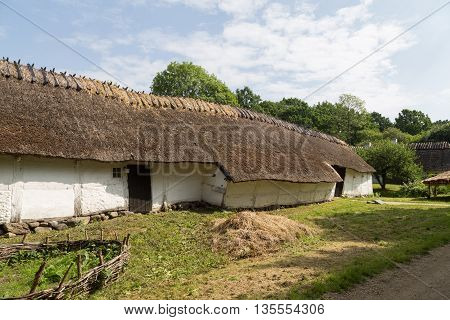 Lyngby, Denmark - June 23, 2016: An ancient danish farmhouse in Frilandsmuseet.