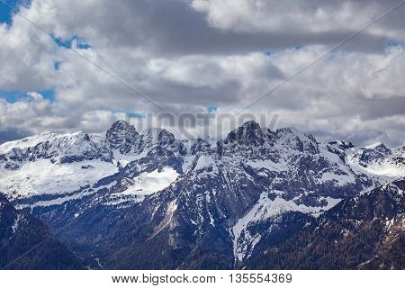 Winter morning landscape of Marmolada summit in Dolomites