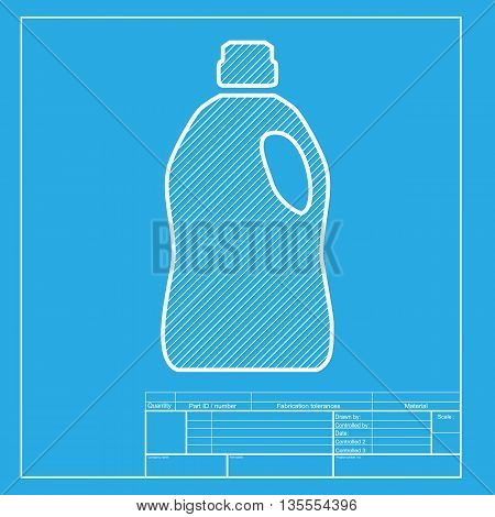 Plastic bottle for cleaning. White section of icon on blueprint template.