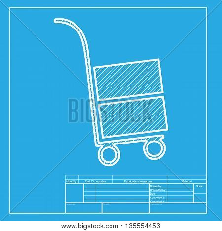 Hand truck sign. White section of icon on blueprint template.