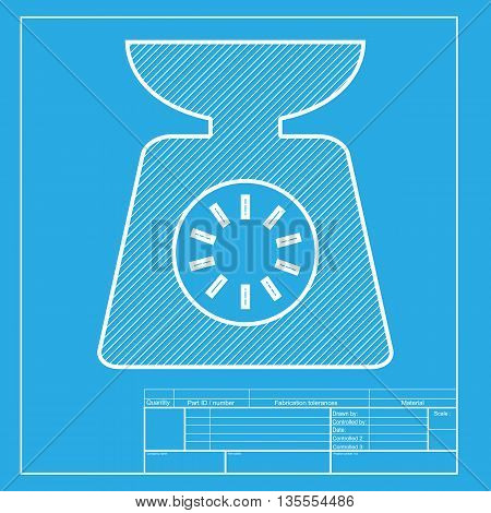 Kitchen scales sign. White section of icon on blueprint template.