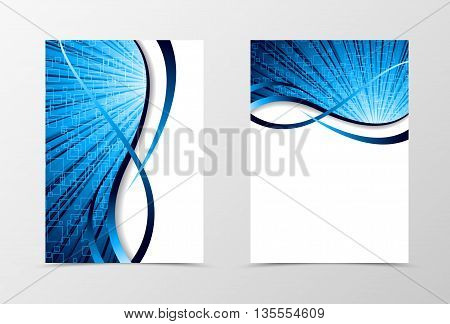 Flyer template spectrum design. Abstract flyer template in blue color with squares. Wave flyer design. Vector illustration