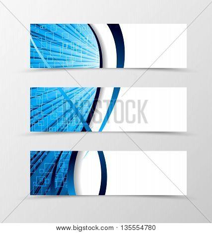 Set of banner spectrum design. Light banner for header in blue color with squares. Design of banner in wave style. Vector illustration