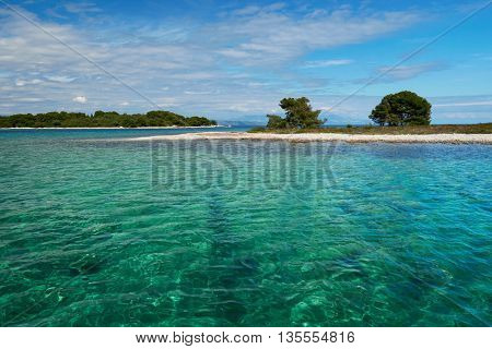 crystal clear water of Adriatic sea in Brela on Makarska Riviera, Dalmatia, Croatia