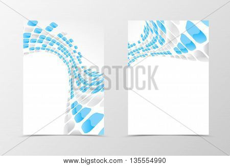 Flyer template wave design. Abstract flyer template with blue and gray mottled rounded squares. Geometric flyer design. Vector illustration