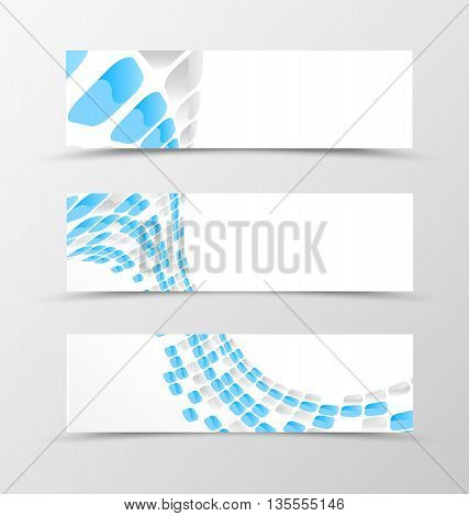 Set of banner wave design. Light banner for header with blue and gray mottled rounded squares. Design of banner in geometric style. Vector illustration