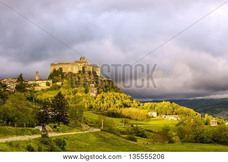 The village Bardi and its castle, Emilia-Romagna, Italy