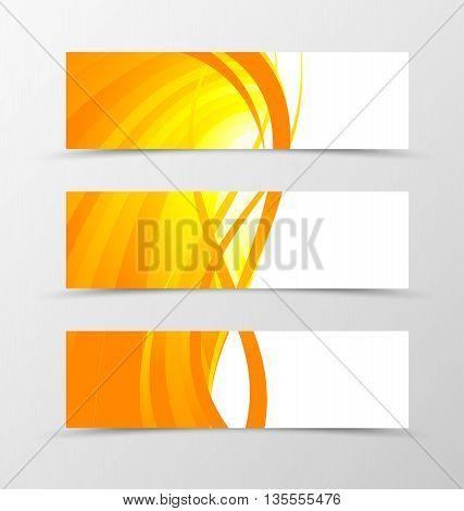 Set of banner wave design. Bright banner for header in orange color with gold lines. Design of banner in spectrum style. Vector illustration