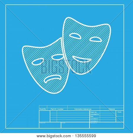 Theater icon with happy and sad masks. White section of icon on blueprint template.