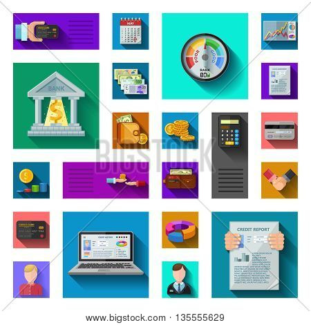Credit rating flat shadow icons in isolated colorful squares with pocketbook credit card currency bank employees credit score diagrams flat vector illustration