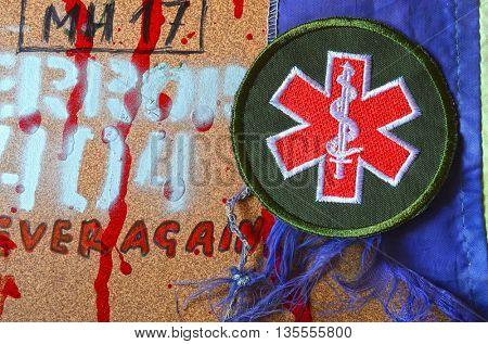 ILLUSTRATIVE EDITORIAL.Medical chevron of Ukrainian army.June 13,2016 in Kiev, Ukraine