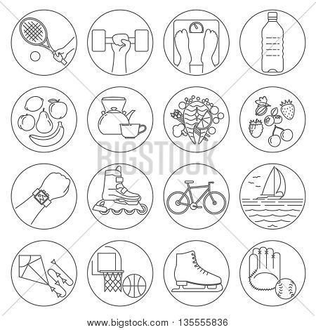 Healthy lifestyle outline black icons. Vector illustration
