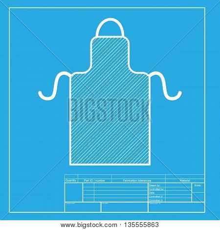 Apron simple sign. White section of icon on blueprint template.