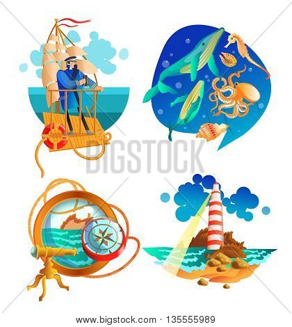 Nautical sea symbols 2 flat icons set with sailboat captain and  lighthouse vintage abstract isolated vector illustration