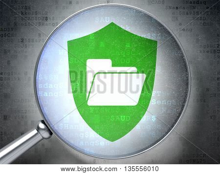 Finance concept: magnifying optical glass with Folder With Shield icon on digital background, 3D rendering
