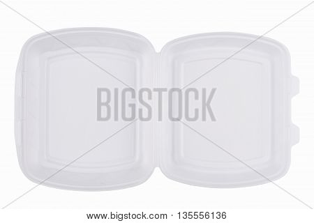 horizontal top view of an open empty white meal foam tray pack isolated