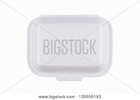 horizontal top view of a closed white meal foam tray pack isolated