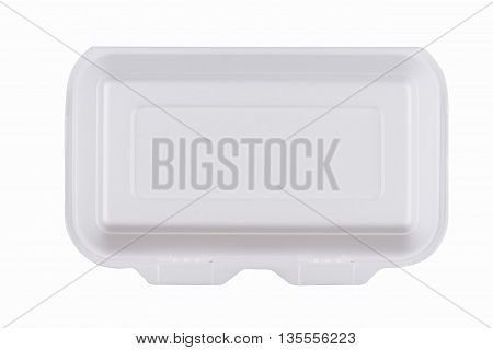horizontal top view of a closed rectangular white meal foam tray pack isolated