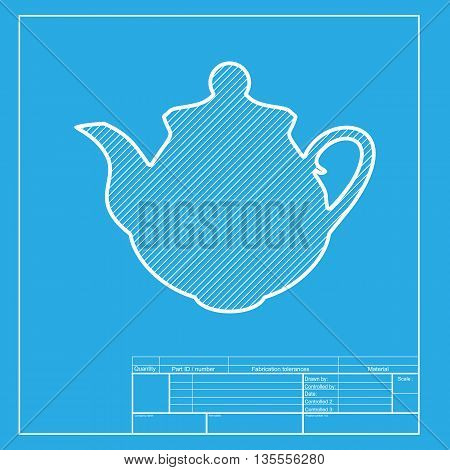 Tea maker Kitchen sign. White section of icon on blueprint template.