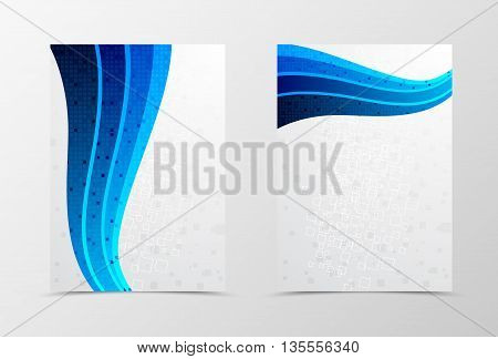 Flyer template wave design. Abstract flyer template in blue color with mosaic square surface . Geometric flyer design with digital rectangle background. Vector illustration