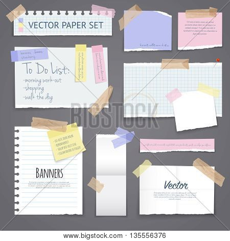 Paper banners with notes set attached with sticky colorful tape on grey background isolated realistic vector illustration
