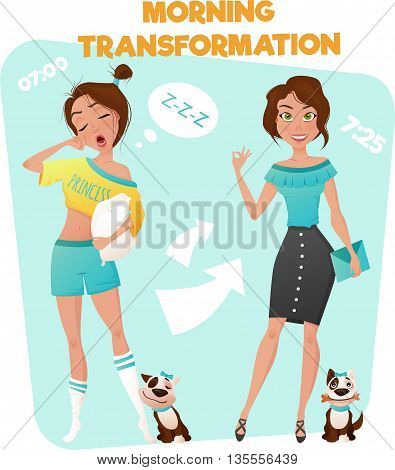 Cartoon style poster of morning transformation from sleepy girl to well looking business woman vector illustration