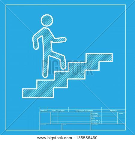 Man on Stairs going up. White section of icon on blueprint template.