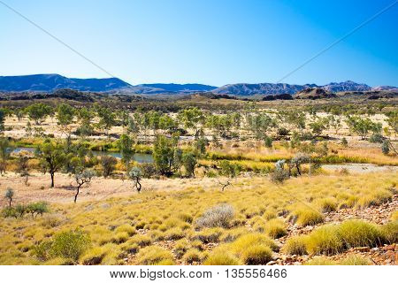 Landscape views at Mt Sonder lookout near Glen Helen in Northern Territory, Australia