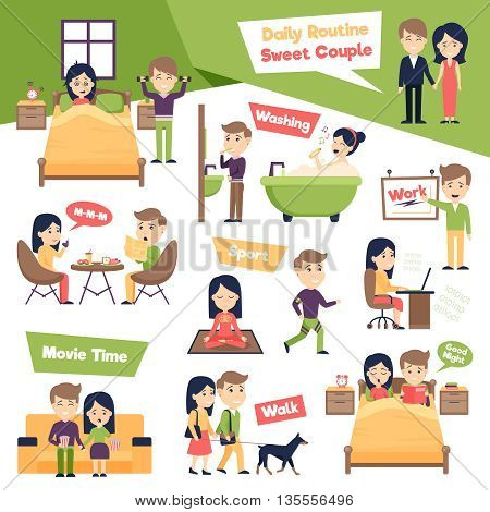 Poster with images set of people daily routine presenting ordinary day of sweet couple cartoon vector illustration