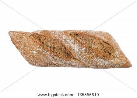 Black ciabatta bread isolated on white background