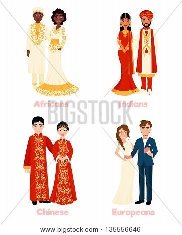 Multicultural wedding couples in national clothing on white background flat isolated vector illustration