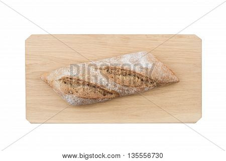 White ciabatta bread on wooden board isolated on white background