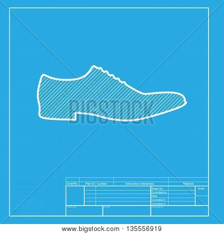 Men Shoes sign. White section of icon on blueprint template.
