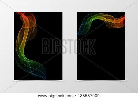 Flyer template wave design. Abstract flyer template in orange blue red green colors on black background. Spectrum transparent flyer design. Vector illustration