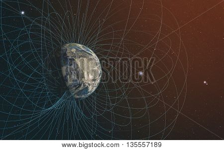 3D rendering of Planet Earth's magnetic field.