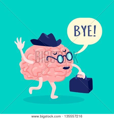 Brain in hat and glasses saying bye with suitcase flat vector illustration