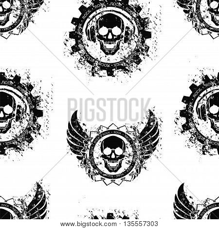 Seamless pattern with the image of the skull in the headphones. Vector illustration.