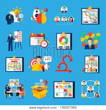 Scrum agile development framework methodology symbols  for managing complex projects flat icons collection abstract isolated vector illustratin