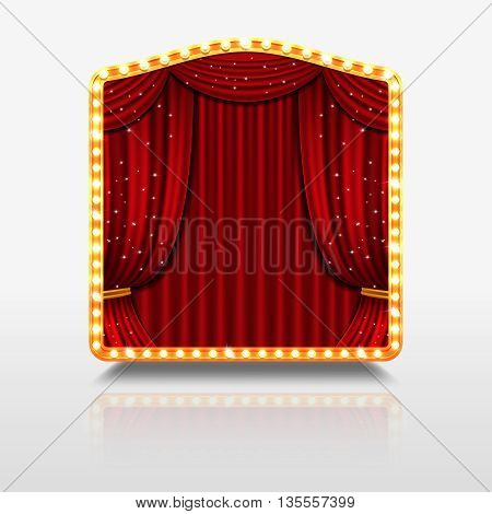 Stage curtain in shining banner with golden frame. Stage with red curtain for concert theatre, shining stage for event premiere. Vector illustration