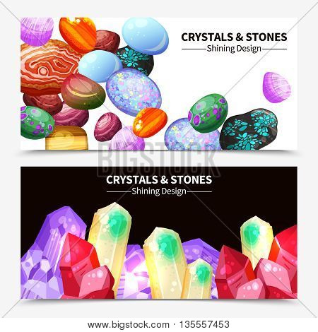 Horizontal crystal stones and rocks with shining design on white and black background banners cartoon isolated vector illustration